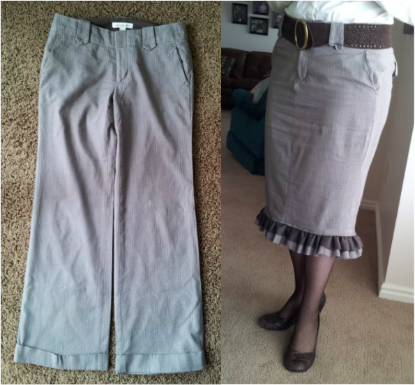 Upcycle dress pants to a skirt in an afternoon