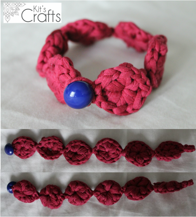Kit's Crafts - T Shirt Circle Cluster Bracelet