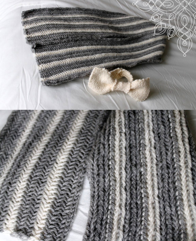 Kit's Crafts - Striped Knit Herringbone Scarf