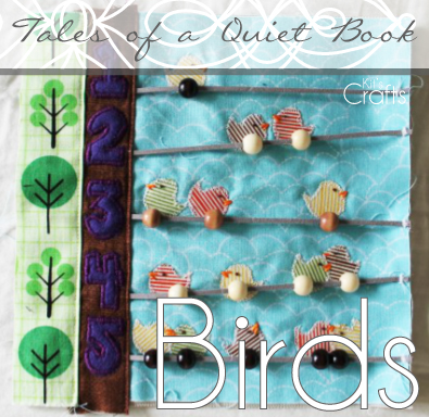 Kit's Crafts - Quiet Book, Birds on a Wire Counting Page