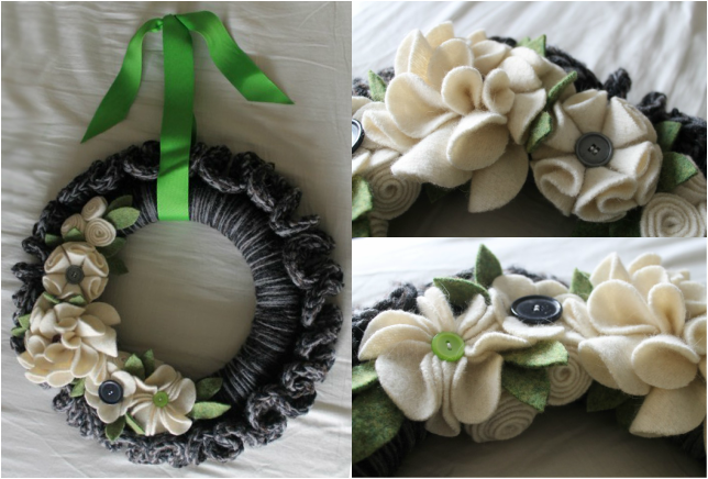 Crochet pattern for simple wreath with felt flowers
